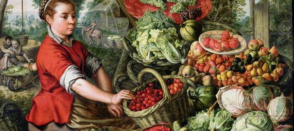 Иоахим Бейкелар Овощной натюрморт с рыночной торговкой (фрагмент)