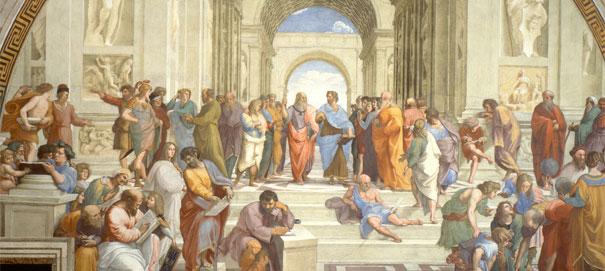 Сократ беседует с Платоном. Рафаэль, фрагмент